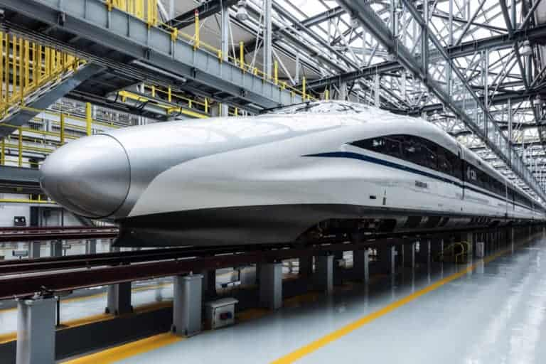 A-high-speed-bullet-train-is-parked