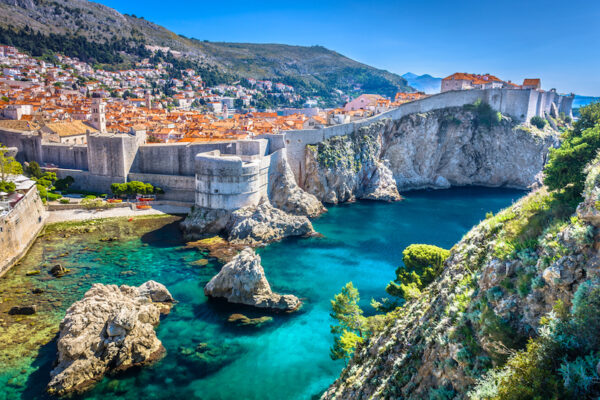 Aerial view at famous european travel destination in Croatia, Dubrovnik old town